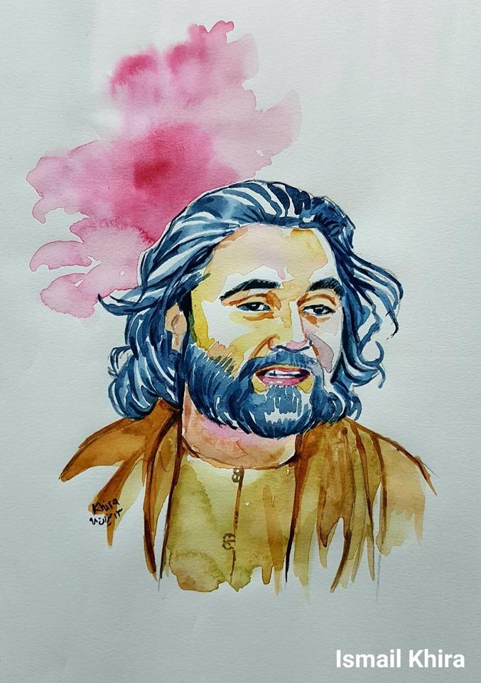 نقاشی چهره ی احمد محمود امپراطور توسط اسماعیل خیره  Painting by ahmad mahmood imperator